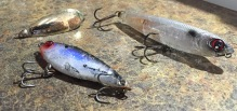 A Trio Of My Fav Cuda Lures--Gold Spoon, Yo-Zuri Pencil, and Mirrolure--With Battle Scars